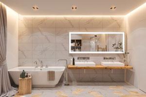 Illustration design d'une salle de bain avec crédence