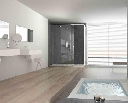 Sol stratifié dans une salle de bain